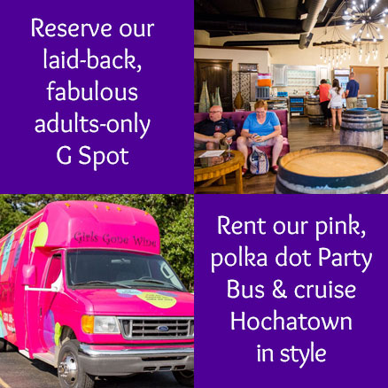 Rent our pink, polka dot Party Bus and cruise Hochatown in style